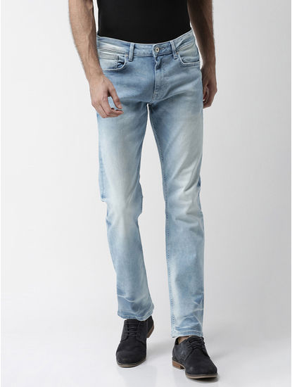 Blue Solid Straight Slim Fit Jeans