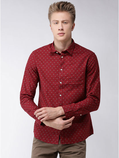 Burgundy Printed Regular Fit Casual Shirt