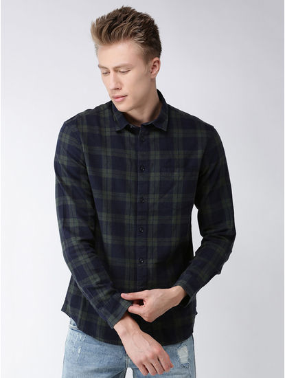 Green Checked Regular Fit Casual Shirt