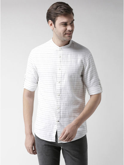 White Striped Regular Fit Casual Shirt