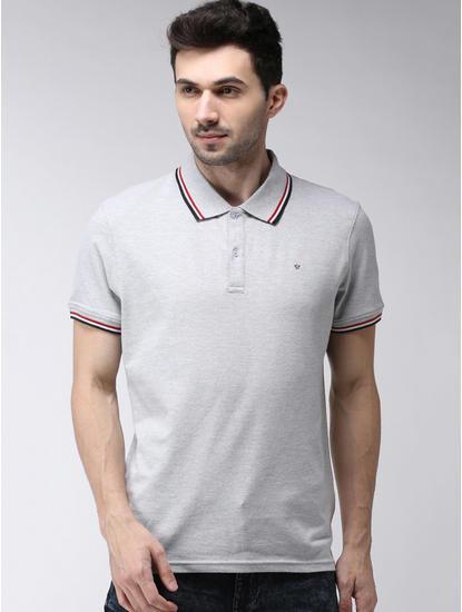 Grey Melange Regular Fit Polo T-Shirt