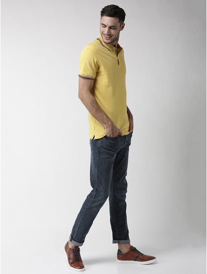 Yellow Solid Regular Fit Polo T-Shirt
