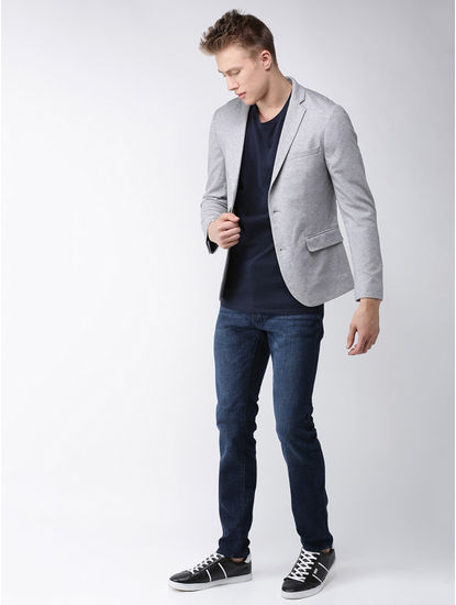 Grey Melange Slim Fit Blazer