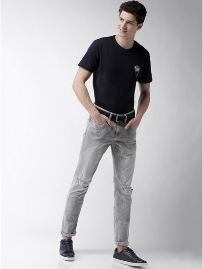 Grey Ripped Slim Fit Jeans