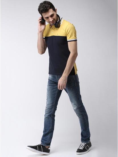 Yellow and Navy Colourblock Regular Fit Polo T-Shirt