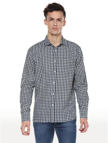 Indigo Checked Regular Fit Casual Shirt