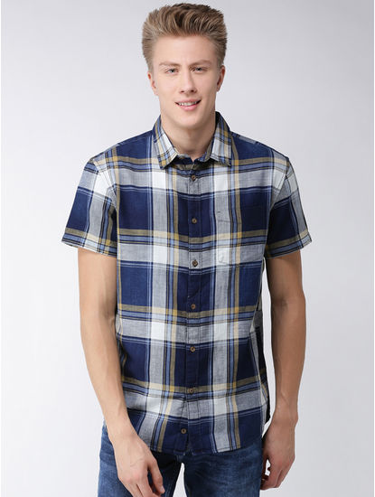 Blue and Yellow Checked Regular Fit Casual Shirt