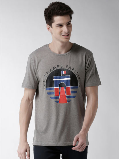 Grey Printed Straight Fit T-Shirt