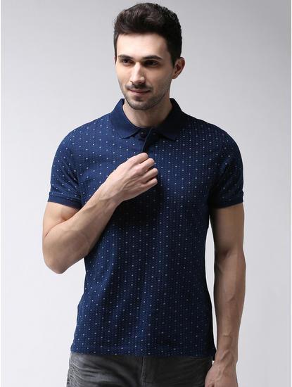 Indigo Printed Regular Fit Polo T-Shirt