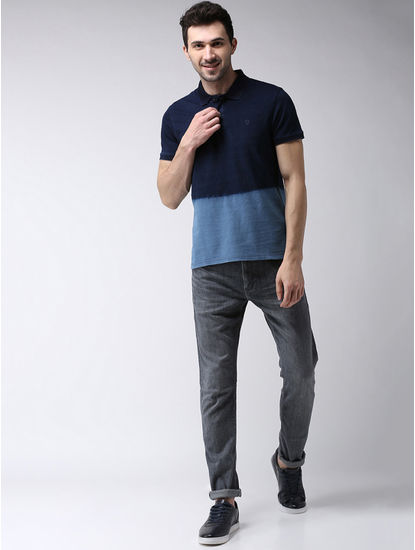Blue Colourblock Regular Fit Polo T-Shirt