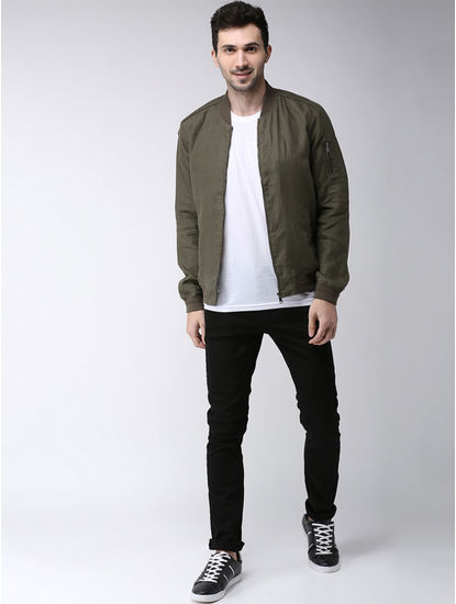 Khaki Solid Regular Fit Bomber Jacket