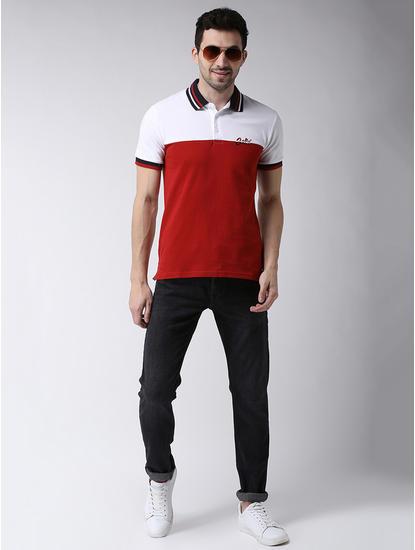 Red Colourblock Regular Fit Polo T-Shirt