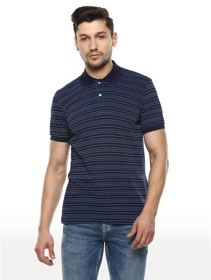 Indigo Striped Regular Fit Polo T-Shirt