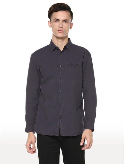 Grey Solid Regular Fit Casual Shirt