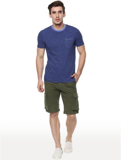 Dark Blue Striped Straight Fit T-Shirt