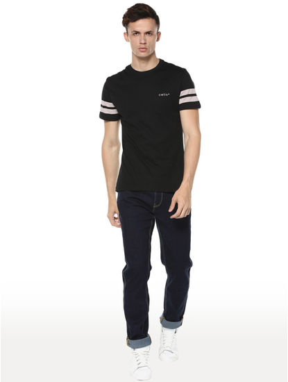 Dark Blue Solid Straight Slim Fit Jeans