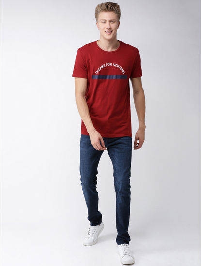 Maroon Printed Straight Fit T-Shirt