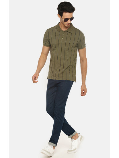 Olive Striped Polo T-Shirt