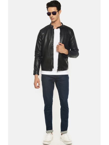 Black Solid Bomber Jacket