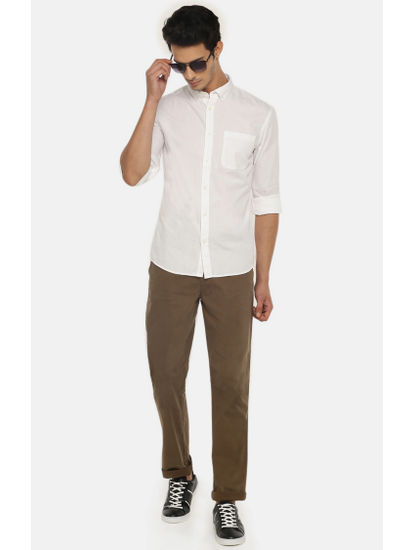 Khaki Straight Fit Chinos