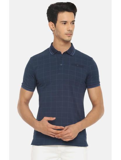 Blue Checked Polo T-Shirt