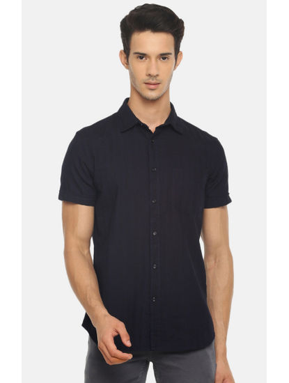 Indigo Solid Casual Shirt