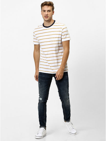 100% Cotton White Striped T-Shirt