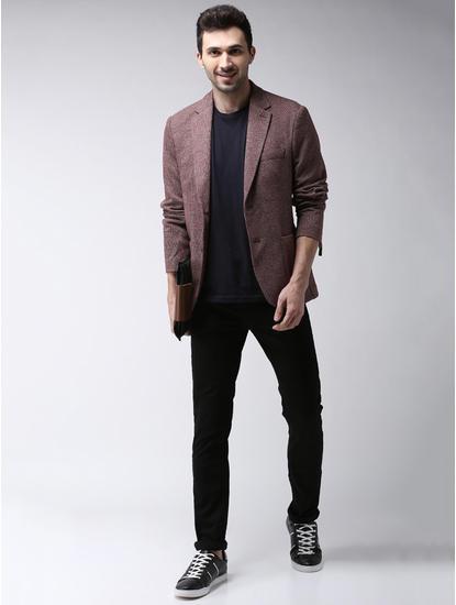 Red Checked Slim Fit Blazer