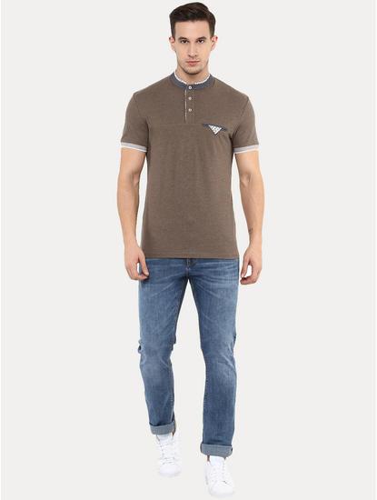 Genewcol Brown Melange T-Shirt