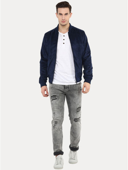 Gudaim Blue Solid Bomber Jacket
