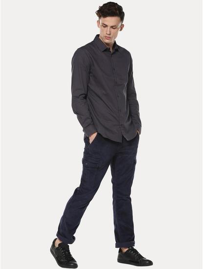 Grey Solid Casual Shirt