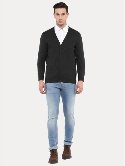 Geclassy Charcoal Solid Cardigan