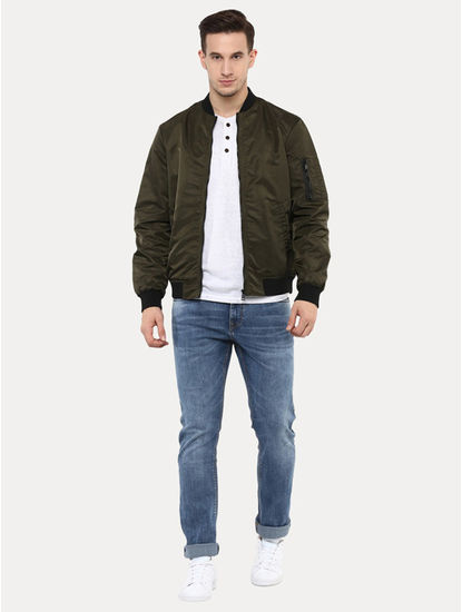 Agualfe Green Solid Bomber Jacket