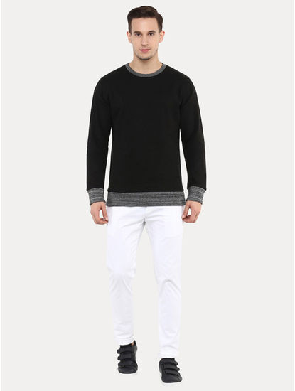 Jeslub Black Solid Sweatshirt