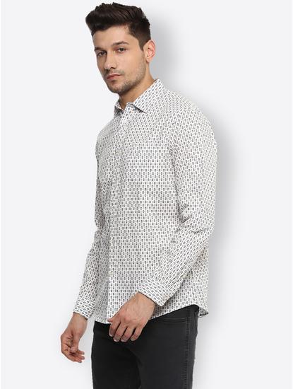 Cream Printed Casual Shirt