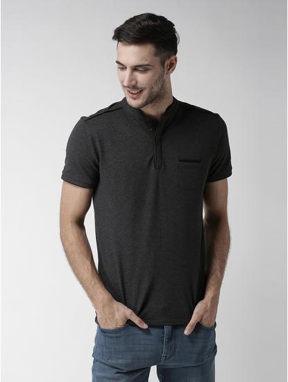 Deofficier Grey Solid T-Shirt