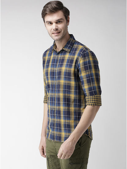 Yellow and Navy Checked Casual Shirt