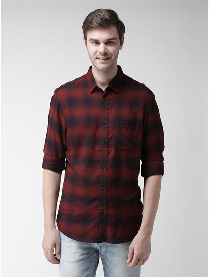 Maroon Checked Casual Shirt