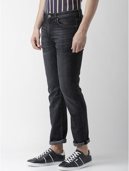 Soft Touch-Straight Slim Fit Black Jeans
