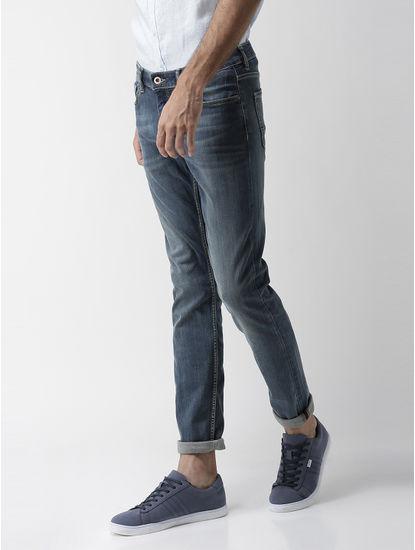 Powerflex Blue Solid Slim Fit Jeans