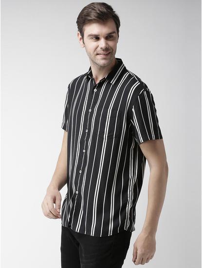 Black Striped Casual Shirt