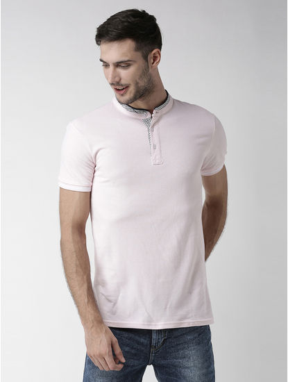 Rose Pink Solid Polo T-Shirt