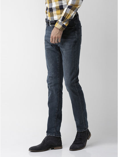 Dark Blue Solid Slim Fit Jeans