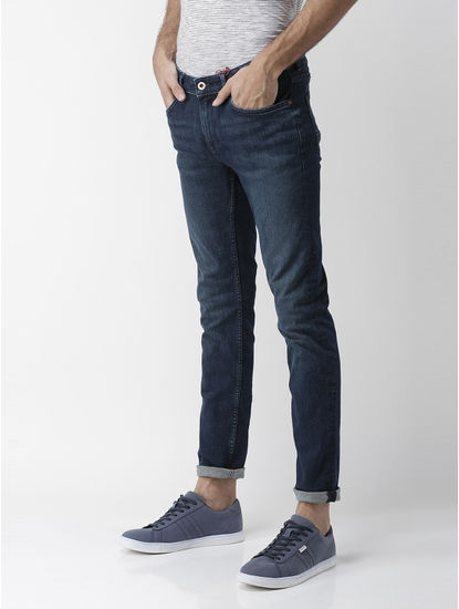 Powerflex Dark Blue Solid Slim Fit Jeans