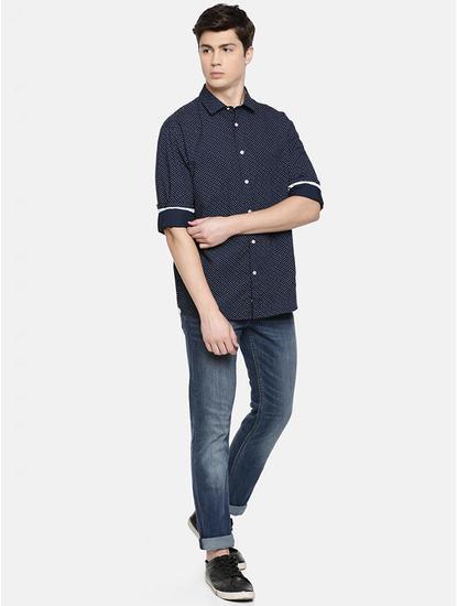 Men Navy Blue Printed Regular Fit Cotton Casual Shirt