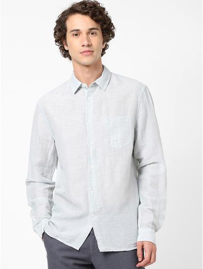 Regular Fit Mint Green Linen Shirt