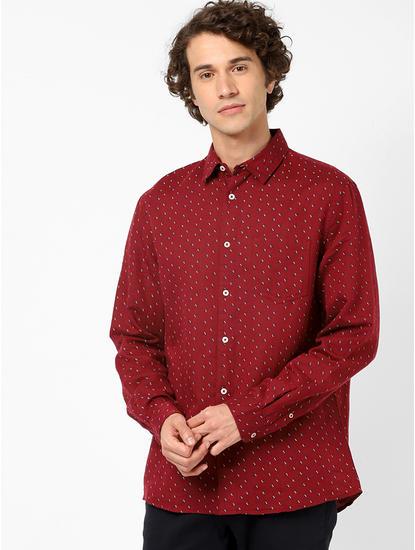 Regular Fit Burgundy Linen Shirt