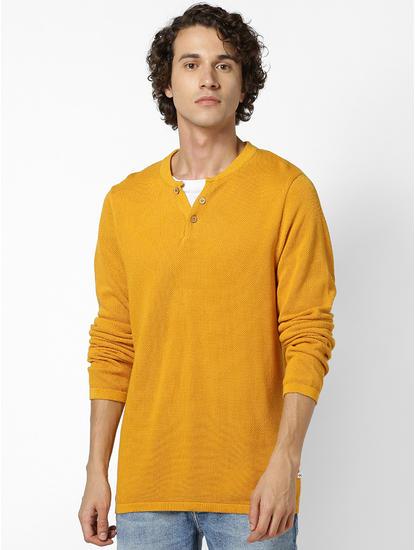 Mustard Henley Collar Sweater