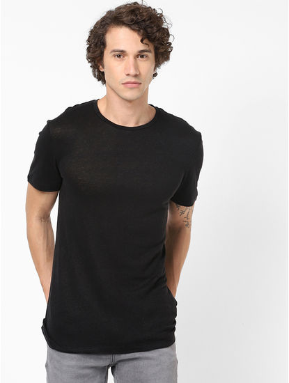 100% Linen Black T-Shirt