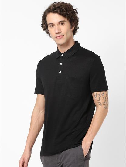 100% Linen Black Polo T-Shirt